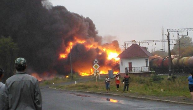 В Городище на переезде взорвался вагон / фото ТСН.uа
