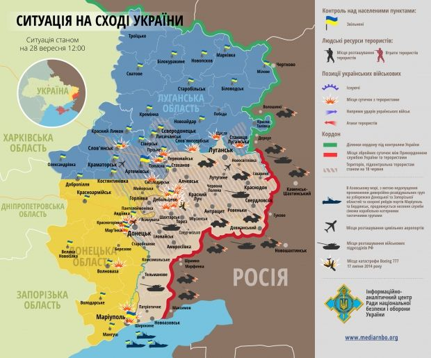 Ситуація у зоні АТО станом на 28 вересня / rnbo.gov.ua