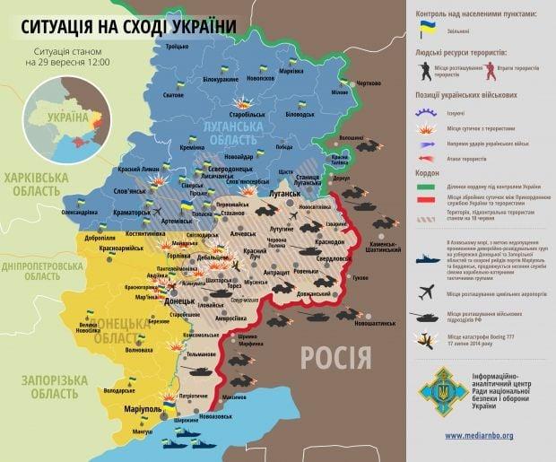 Мапа ситуації в зоні АТО