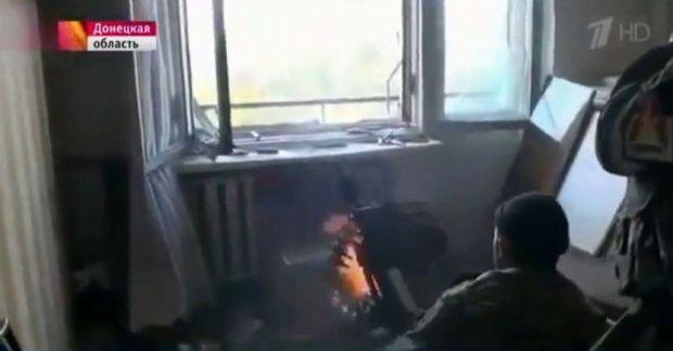 Боевики из жилого дома обстреливают Донецкий аэропрт / Скриншот