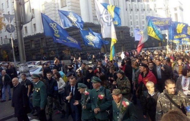 В первых рядах марша идут воины УПА / @vo_svoboda