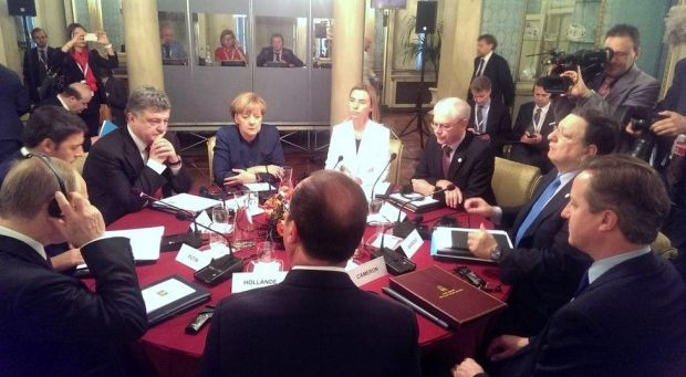 EU leaders met with Ukrainian President Petro Poroshenko and Russian President Vladimir Putin on Friday at the EU's ASEM Summit in Milan / @STsegolko
