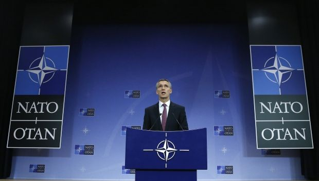 NATO Secretary General Jens Stoltenberg speaks at a meeting of NATO foreign ministers on December 2 / REUTERS