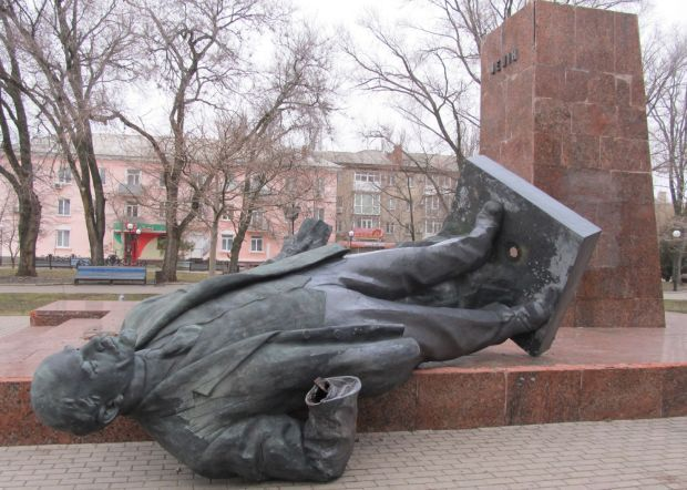 A monument to Vladimir Lenin was toppled in the city of Berdiansk / Photo from bmr.gov.ua/