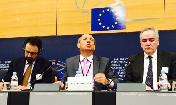 MEP Schaffhauser advocates the break-up of Ukraine / Photo by Mary Mezentseva