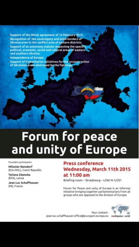 A flyer inviting to Forum advocating breakup of Ukraine