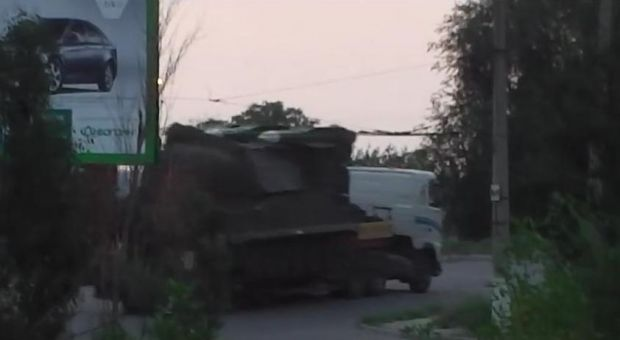 Screenshot from Dutch police video shows a Buk launcher in Luhansk.