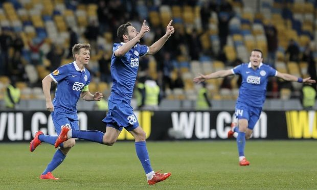 Dnipro's Yevhen Shakhov celebrates the winner against Club Brugge in Kyiv / Photo from Efrem Lukatsky/AP