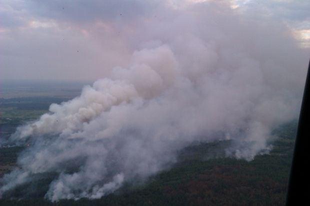 Вертольот ДСНС здійснює обліт території пожежі / mns.gov.ua