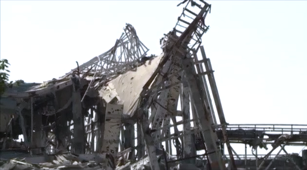 Donetsk airport's remnants / Screenshot from BBC footage