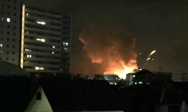 The fire department said the blasts occurred shortly before 01:00 am local time / Photo from twitter.com/AmichaiStein1