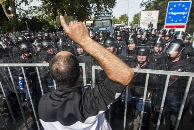 Мигранты в Венгрии штурмуют границу / origo.hu