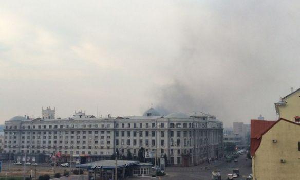 Харьков окутал дым в результате пожара на вокзале