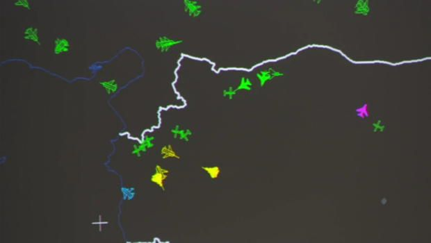 This graphic shows radar tracking of Russians coming close to U.S. planes / CBS News
