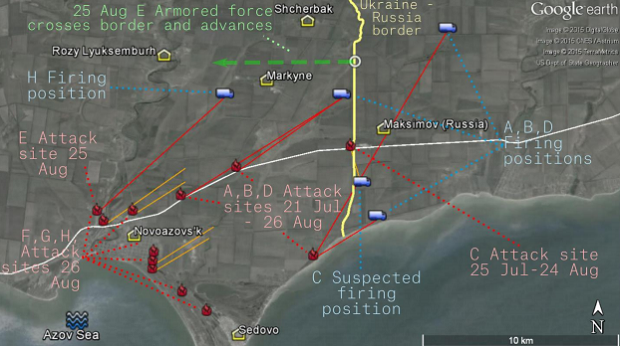 Summary of artillery attacks in the Novoazovs'k region, from 21 July to 26 August 2014. Red solid lines indicate the trajectory of artillery fire that has been matched to a firing point found from satellite or social media evidence. Orange lines indicate a trajectory estimated from photo or video at the attack site – the firing point is unknown. The green line indicates the movement of attacking forces after advancing across the border on 25 August 2014 / bellingcat.com