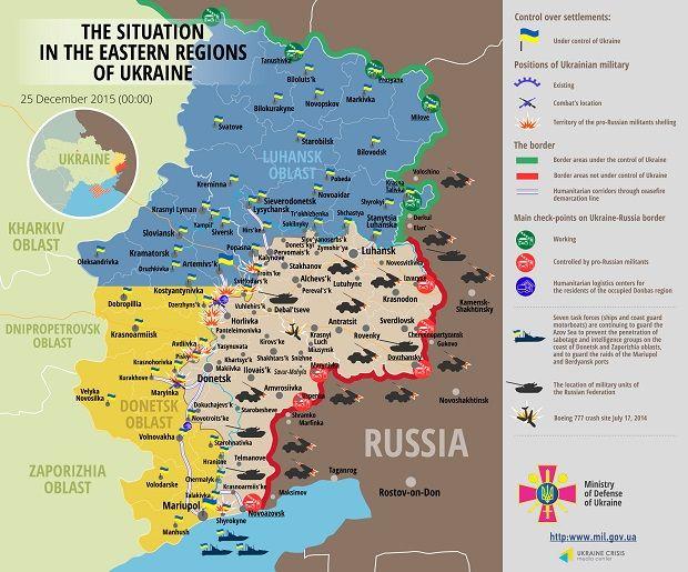 Hostilities in Donbas as of December 25 / Image from mediarnbo.org