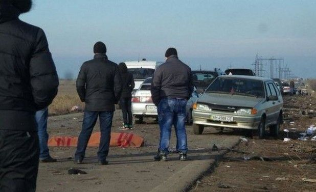The minibus hit a land mine 600 meters from the checkpoint  / Photo from Twitter