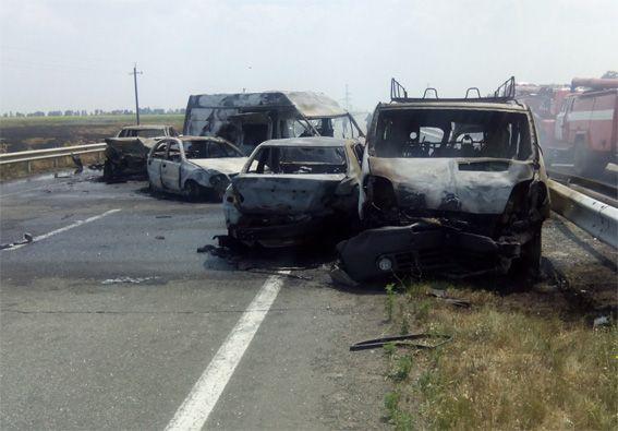 У результаті аварії 5 автомобілів загорілися / Фото kg.npu.gov.ua
