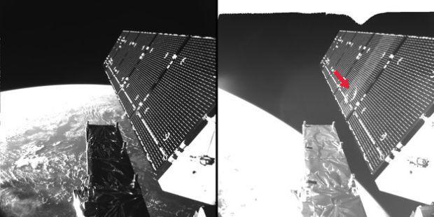 Как выглядят последствия столкновения спутника скосмической частицей