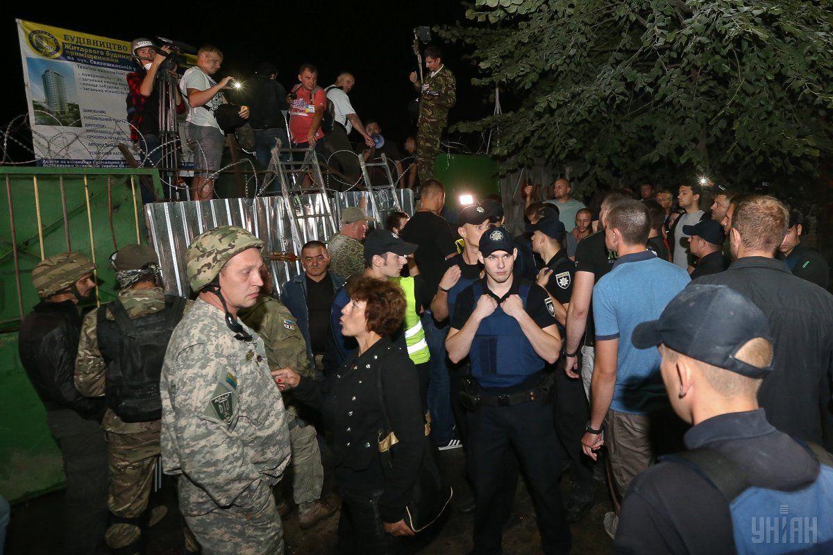 В итоге столкновений под «Киевгорстроем» задержаны 3 человека