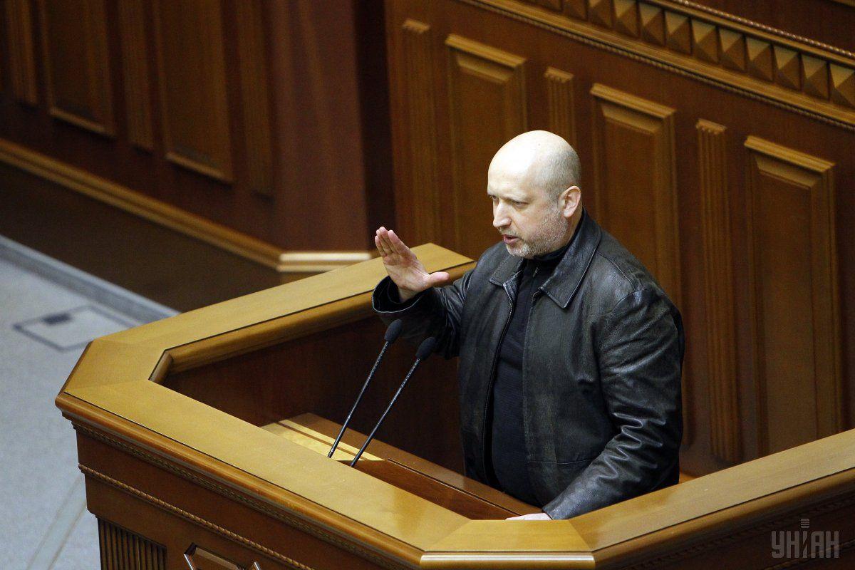 Новоизбранный председатель ВР Александр Турчинов выступает во время заседания парламента, 22 февраля 2014 / УНИАН
