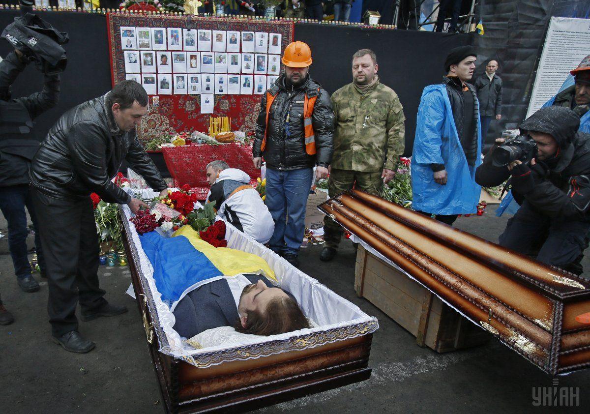 Прощання із загиблим Євгеном Котляром на Майдані 22 лютого 2014 року / Фото УНІАН