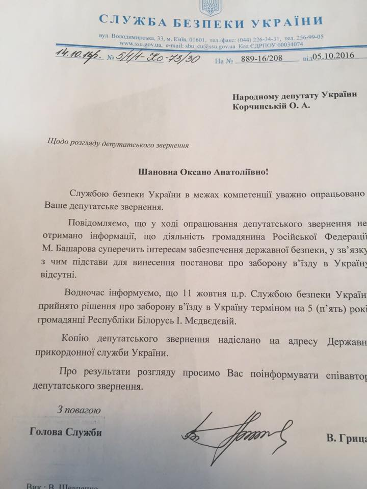 СБУ заборони Корольовій в'їзд в Україну / facebook.com/korchynskyi