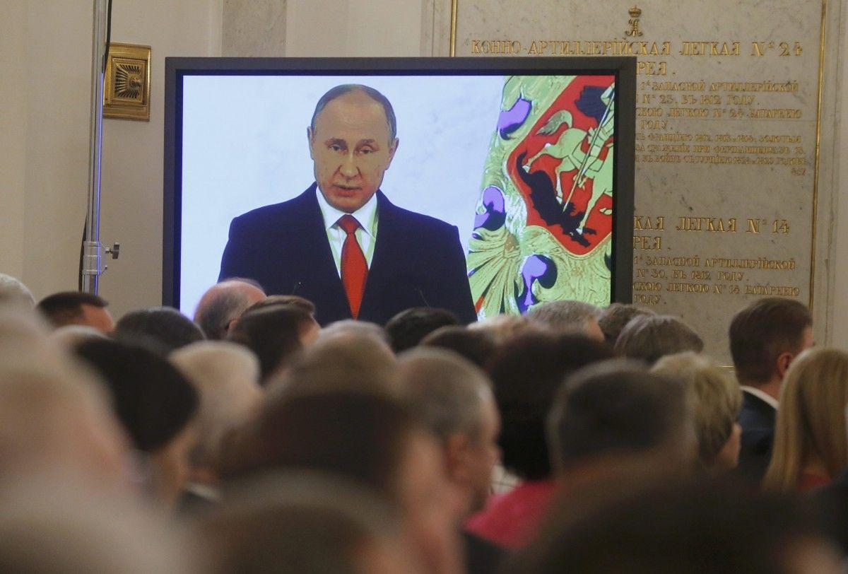 Володимир Путін під час послання Федеральним зборам РФ / REUTERS