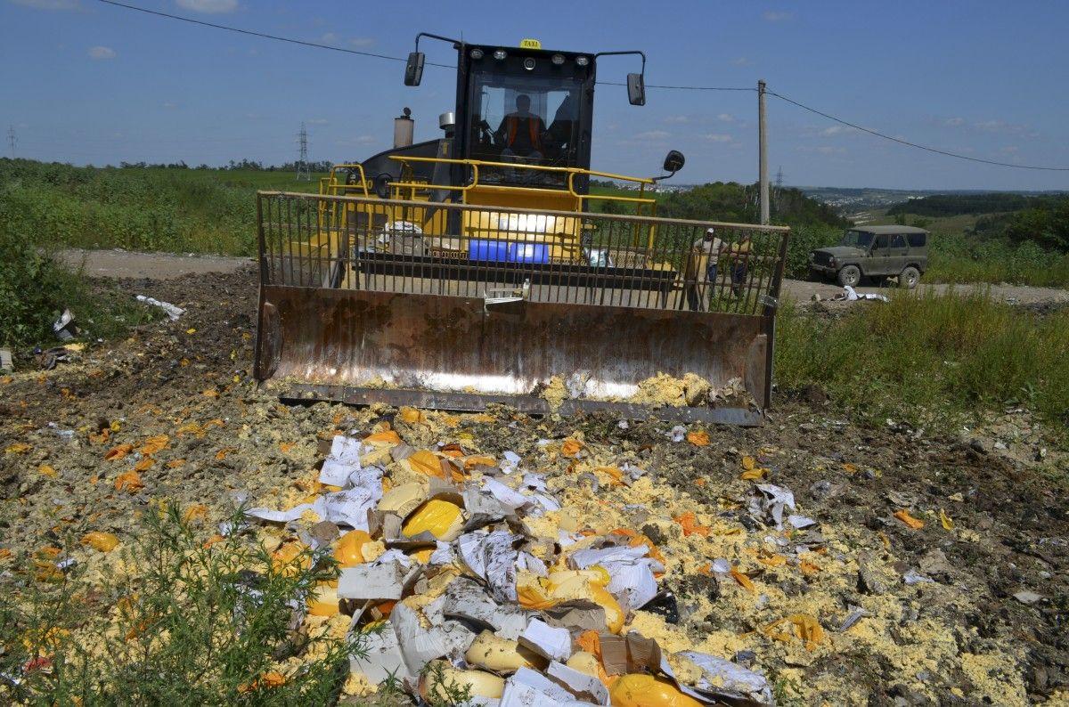 В Российской Федерации пустили под бульдозер практически 9 млн. килограммов «санкционных» продуктов