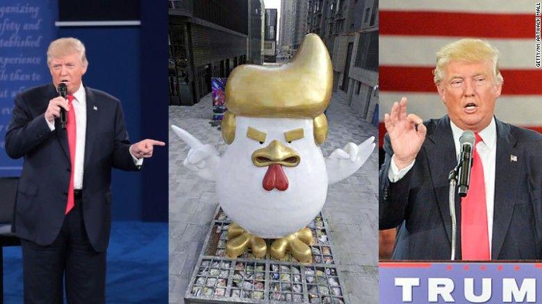 В «Поднебесной» около торгового центра установили скульптуру петуха, схожего на Д.Трампа