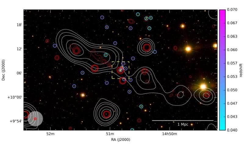 Астрофизики обнаружили огромную радиогалактику-каннибала