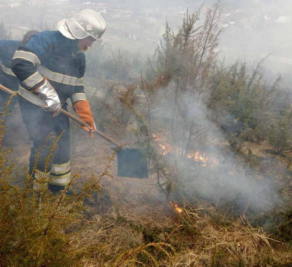 Из-за пожара сухой травы наЗакарпатье семь населенных пунктов остались без газа