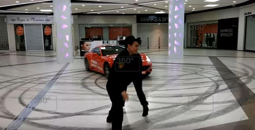 Дрифт на Феррари вТЦ столицы попал навидео