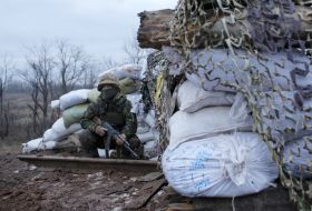Ukrainian military forces during the Operation of the United Forces zone in Donetsk region