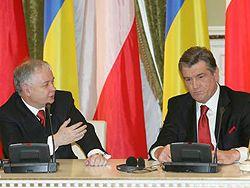 Виктор Ющенко и Лех Качиньский во время официальной встречи в Киеве. 6 декабря