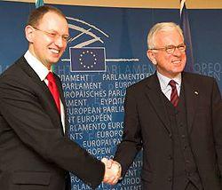 Арсений Яценюк и президент Европейского парламента Ганс-Герт Петтеринг