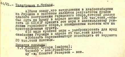 Постановление Политбюро о помощи Украине (разбронирование хлеба для снабжения Украины).  23 апреля 1932 г.
