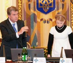 Виктор Ющенко и Юлия Тимошенко на заседании СНБО. Киев, 13 октября