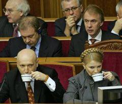Александр Турчинов и Юлия Тимошенко пьют чай в зале заседаний Верховной Рады. Киев, 13 января