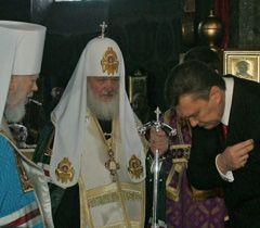 Патриарх Владимир, Патриарх Кирилл и Виктор Янукович во время молитвы в Киево-Печерской Лавре