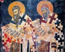 Апостолы славян Свв. Кирилл и Мефодий. Фреска монастыря Св. Наума, Болгария