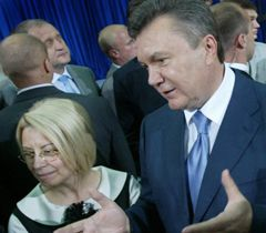Hanna Herman and Victor Yanukovych before the news conference in Kyiv