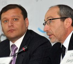 Михаил Добкин и Геннадий Кернес во время  аэрофорума Routes CIS в Харькове