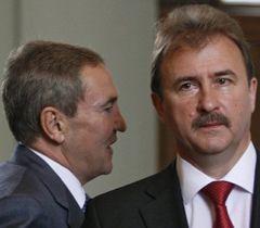 Леонид Черновецкий  и Александр Попов после заседания расширенной коллегии КГГА. Киев, 15 июня