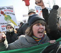 """Учасниця акції протесту """"Проти деградації освіти"""" в Києві, 28 лютого 2011 р."""