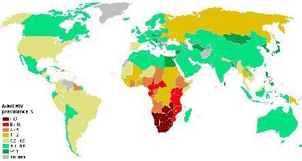 Карта распространенности СПИДа в мире