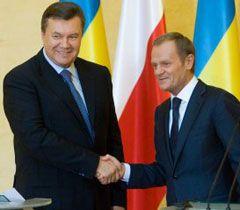 Президент Украины Янукович и премьер Польши Туск
