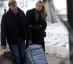 Yevgenia Tymoshenko leaving the territory of Kachanivska prison colony after the meeting with her mother. March 12