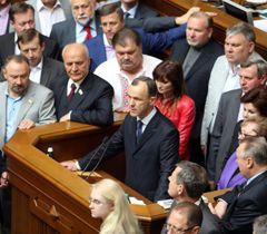 Андрей Кожемякин во время блокирования трибуны парламента. Киев, 17 мая