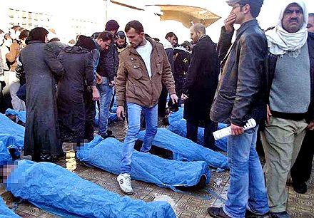 Тела погибших в Алеппо, Сирия